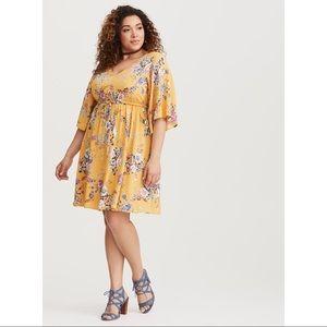 Torrid | Yellow Floral Challis Midi Dress